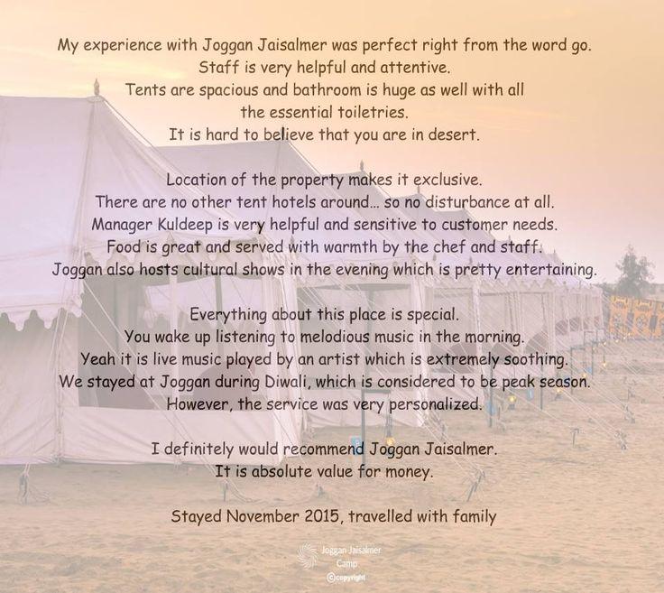 Latest Review for Joggan Jaisalmer Camps at TripAdvisor Read Reviews at http://bit.ly/1WmHlfq