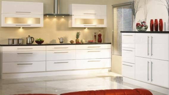 Best White Units Long Handles Glazed Doors Dark Work Tops 400 x 300