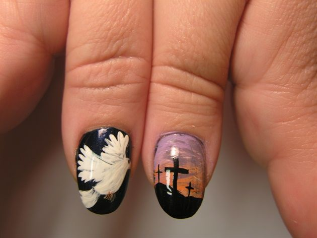 Nails With Cross Design Cfcpoland