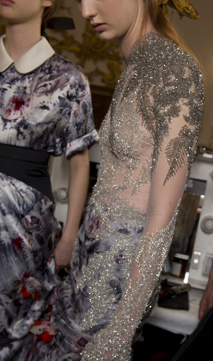 For GILES' Autumn Winter 2012 collection, breathtaking volumes of burnt organza and oversized tapestry prints were augmented using hand embroidered beads by Swarovski Elements, while sheer gowns were intricately sewn with crystals to mimic frozen ferns growing across the body