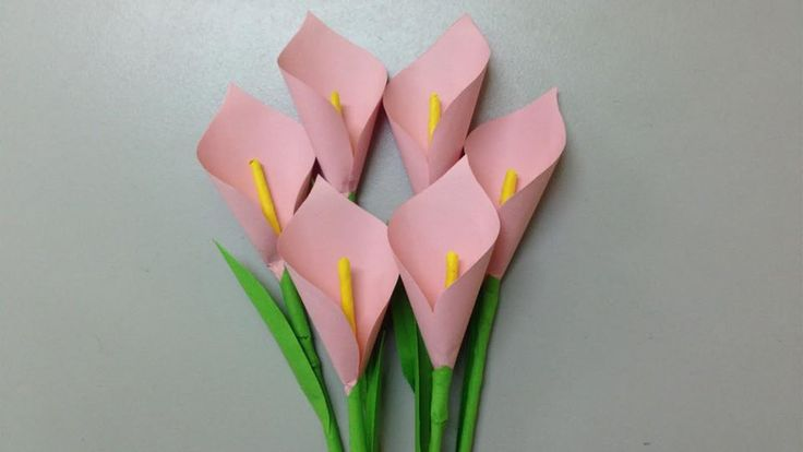 How to make calla lily paper flower   Easy origami flowers for beginners making   DIY-Paper Crafts