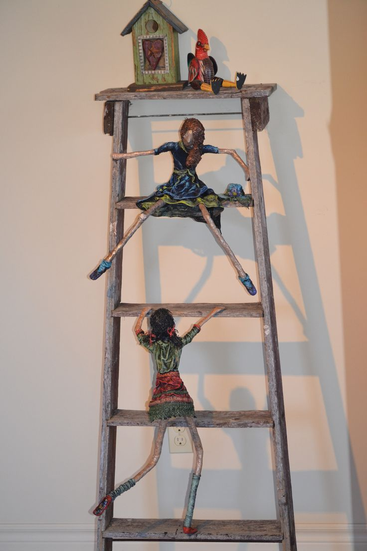 Step Sisters - Paverpol sculptures on rustic stepladder by Mary Lou Devine