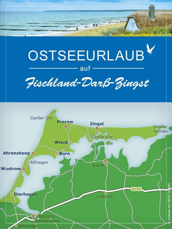 Karte Norddeutschland Ostseekuste.Auf Der Ostseeseite Liegen Ahrenshoop Prerow Und Zingst