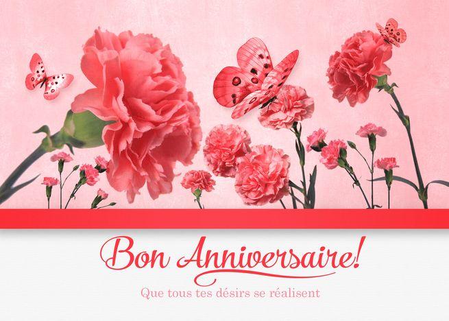 French Birthday Bon Anniversaire Pink Carnations Card Ad Ad Bon Birthday French Anniversaire Pink Carnations Carnations Butterfly Cards