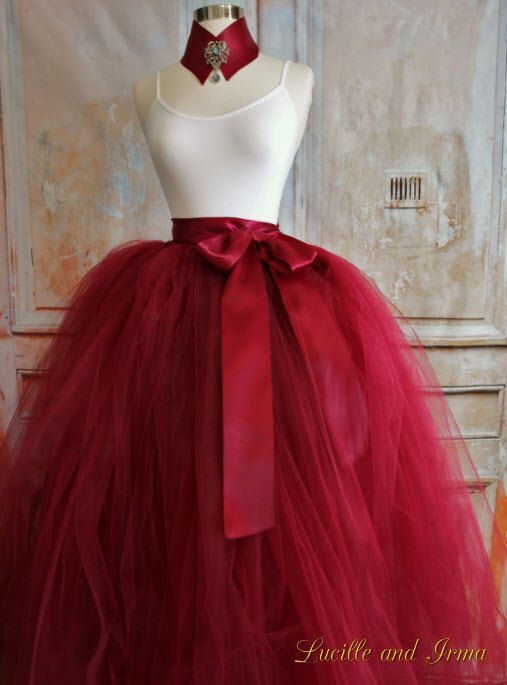 Burgundy Red Women's Tutu Tulle Skirt With Optional Slip Valentines Tutu Wedding Tutu