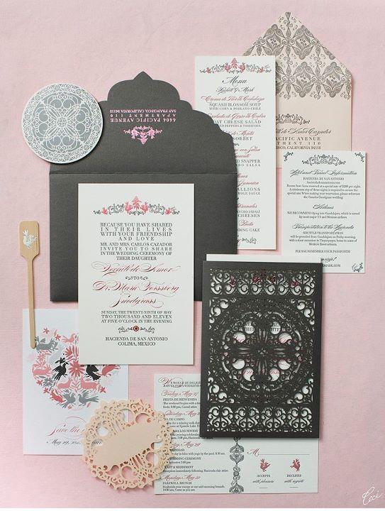 laser cut lace invitation set by Ceci New York