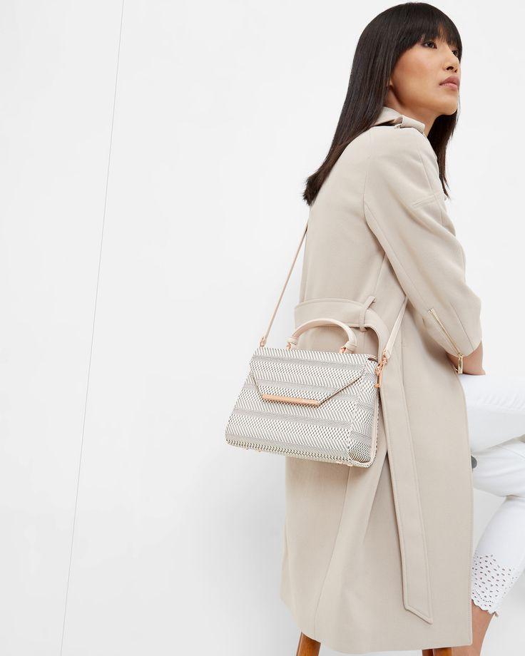 Woven geo design top handle bag - Straw | Bags | Ted Baker SEU