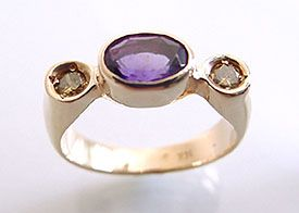 Amethyst With Canary Diamonds 14kt Ring
