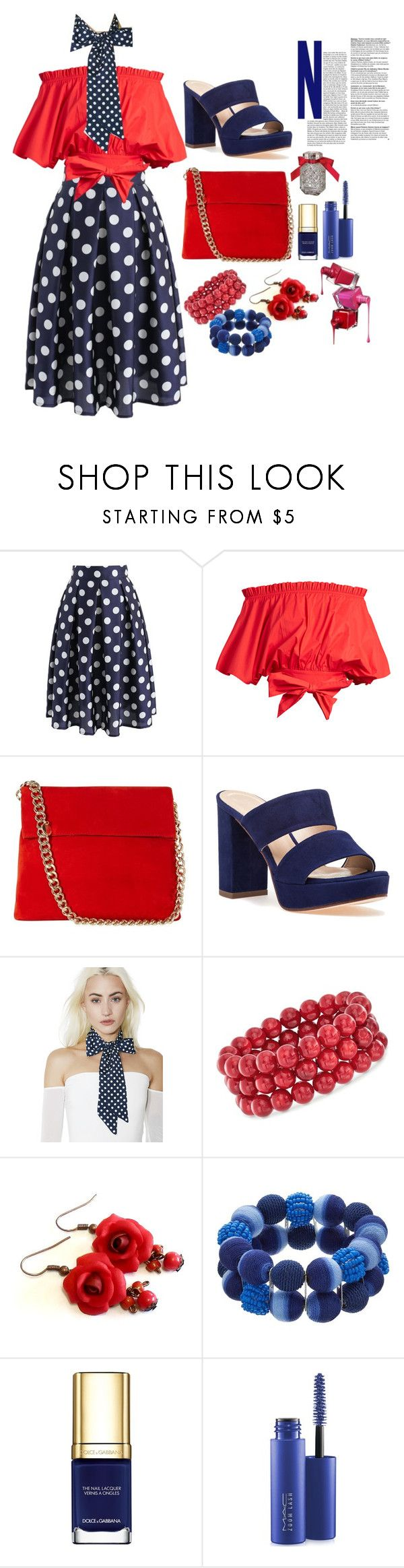 """blue and red"" by loveazerbayjani ❤ liked on Polyvore featuring Chicwish, Saloni, Karen Millen, 275 Central, Ross-Simons, Dolce&Gabbana, MAC Cosmetics and Victoria's Secret"