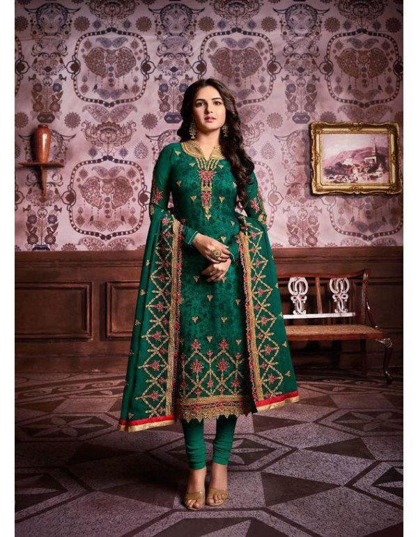 6916bc7cd6 Viridian Green Straight Fit Suit with Embroidered Dupatta ...