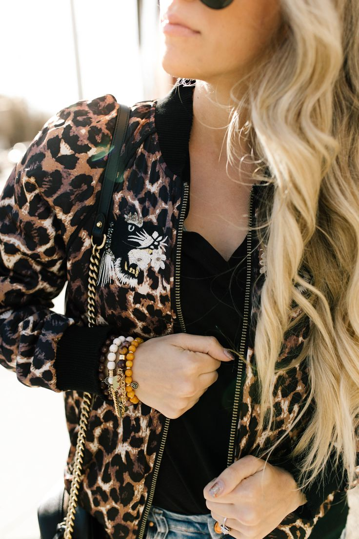 Leopard Print Embellished Bomber Jacket | How to style a bomber jacket for spring | Spring Outfit Inspiration
