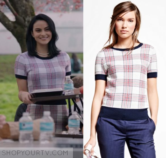 "Riverdale: Season 1 Episode 1 Veronica's Plaid Short Sleeve Sweater | Veronica Lodge (Camila Mendes) wears this pink and white plaid trimmed short sleeved sweater in this episode of Riverdale, ""The Rivers Edge"".  It is the Brooks brothers Merino Wool Plaid Sweater."