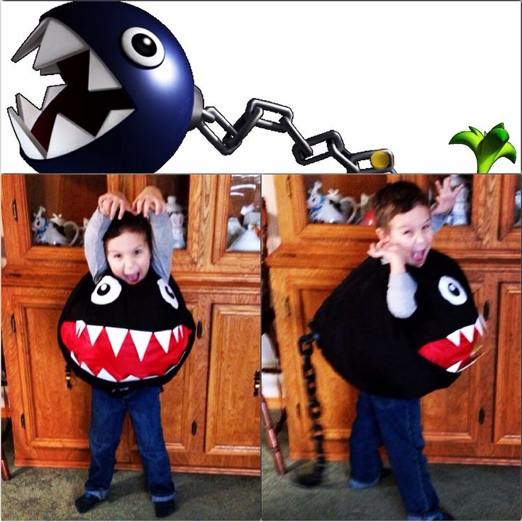 Home made costume my mom made for my son.  Chain Chomp from Super Mario Bros.  Made from scratch, no pattern.  Teeth are cut from margarine container lids, tail base is the bottom of a black takeout container and the tail is a plastic chain bought at the dollar store in the Halloween section.  He loves it!!