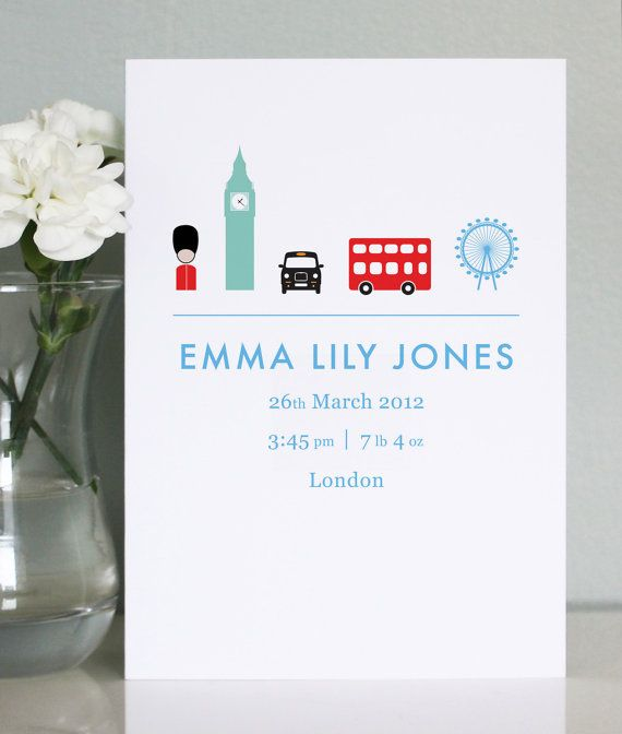 Charmingly simple birth announcement cards can be sent out to friends and family and framed in baby's nursery.