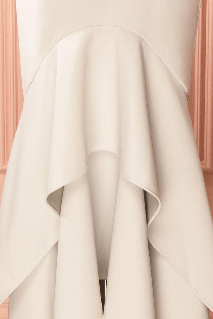 Light gray flowy mermaid gown - Robe de soirée sirène gris pâle