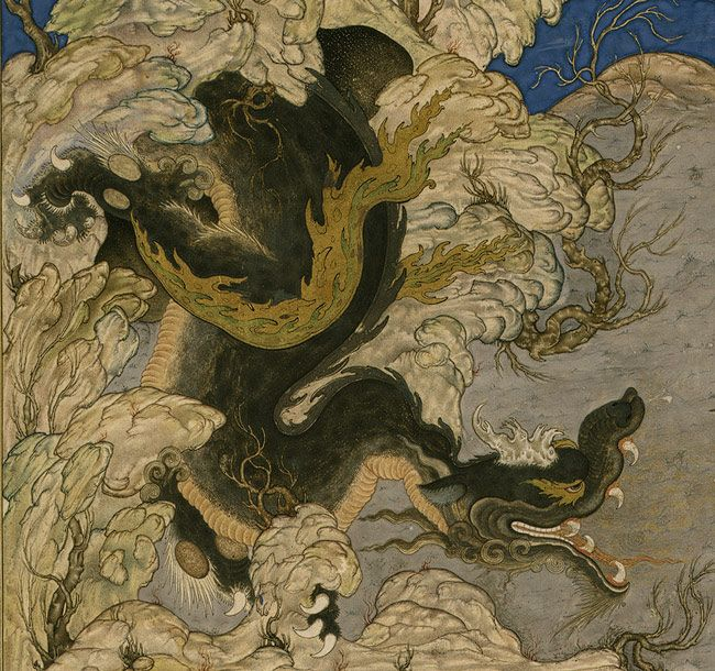 Attributed to Qasim ibn 'Ali: Isfandiyar's Third Course: He Slays a Dragon: Folio from the Shahnama (Book of Kings) of Shah Tahmasp [Iran] (...