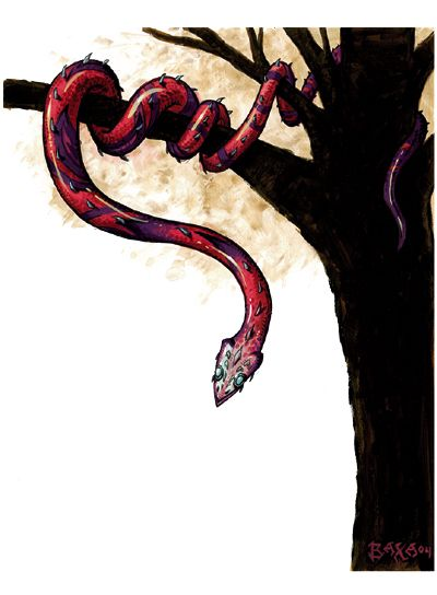 Jaculus or javelin snake- medieval legend: a snake that lived up in the trees and killed it prey by quickly jabbing them with its spear like head. It had no venom, only a sharp head that penetrated human flesh, and made them bleed out and die.