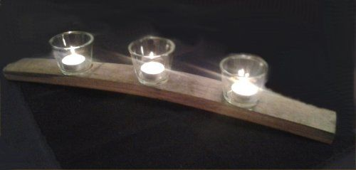 Curved stave candle holder