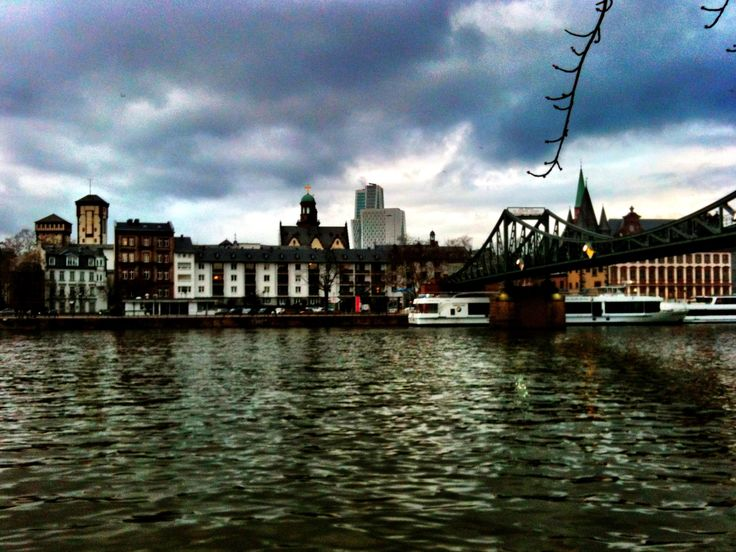 Frankfurt, Germany. This is the pedestrian bridge I used to walk to go to Sachsenhausen where there are bars and night clubs. Very nice city. No litter.