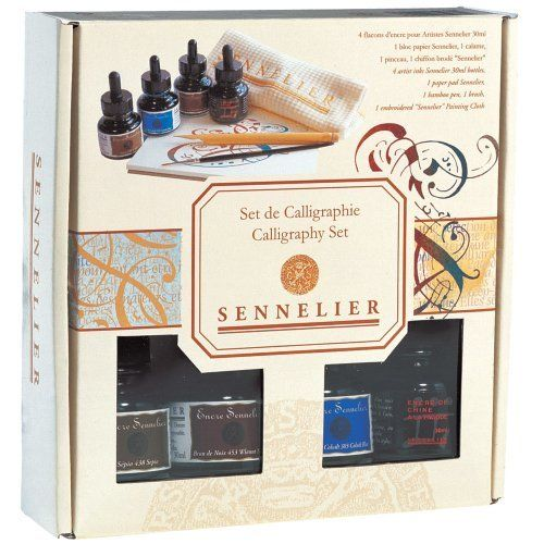 "This beautifully designed set contains four 30ml bottles of ink (China, cobalt blue, sepia and walnut). Being shellac based, they have a unique brilliance, brightness and intensity. Set also includes a 7"" x 7"" calligraphy pad, bamboo pen, brush and towel.  For more information, visit us @ http://artsupplysource.com/sennelier-calligraphy-set-4-inks-pad-pen-brush/"