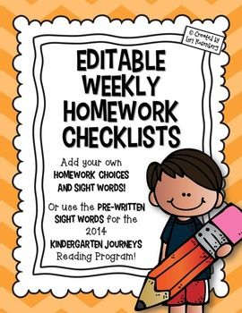 *Download the Preview to see the different versions included.**You must have Powerpoint to edit this file!*I created these to use as weekly homework checklists. You can tell the children what to work on each day or they can pick and choose, based on their needs.