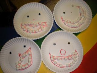 Dental Week Activities for Preschoolers - This looks kind of creepy but Kylie LOVES marshmallows, so I'm sure she would love this!