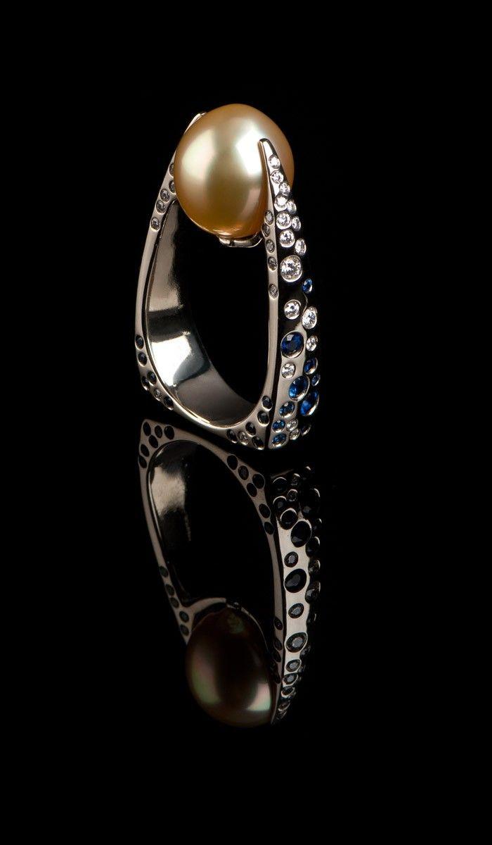 J. Chapa Hernandez | Yellow South Sea Pearl Ring PR-607 - WOMEN'S JEWELRY | Bellevue, WA