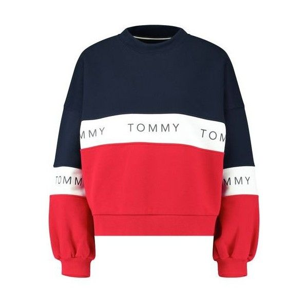 c631be1e9f754b Tommy Jeans TJW COLOR BLOCK Sweatshirt ($110) ❤ liked on Polyvore featuring  tops, hoodies, sweatshirts, tommy hilfiger top, red sweatshirt, colorblock  ...