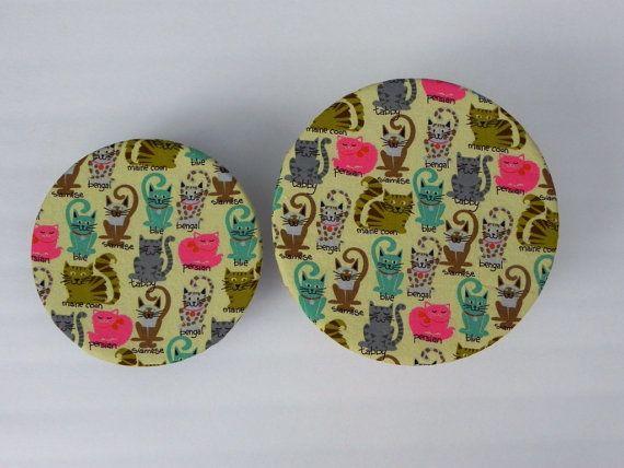Reusable Bowl Covers Cute Kitties by bgreenbuyused
