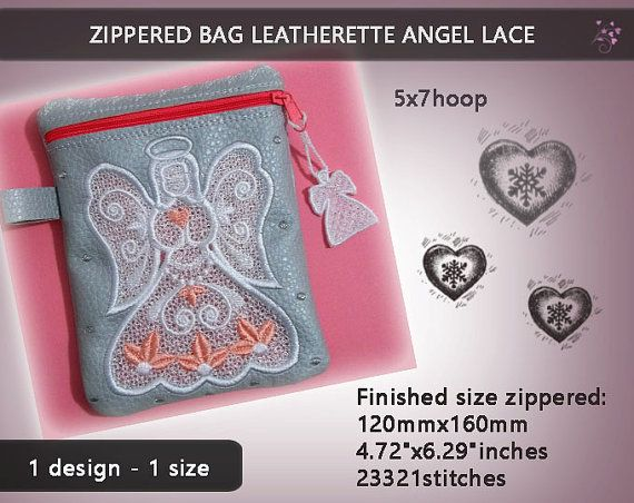 Zippered leatherette combined with lace No.238  by EmbroideryRady