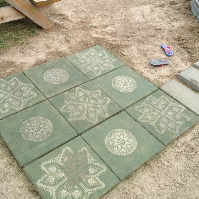 Prettied Up The Stepping Stones With Some Paint And Stencils