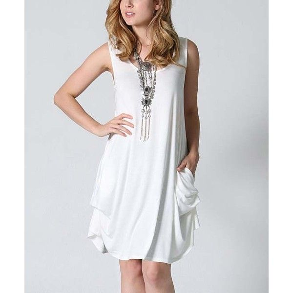42POPS Off-White Pocket Tunic Dress ($17) ❤ liked on Polyvore featuring plus size women's fashion, plus size clothing, plus size dresses, plus size, champagne long dress, off white plus size dress, rayon dress, viscose dresses and plus size sleeveless dresses