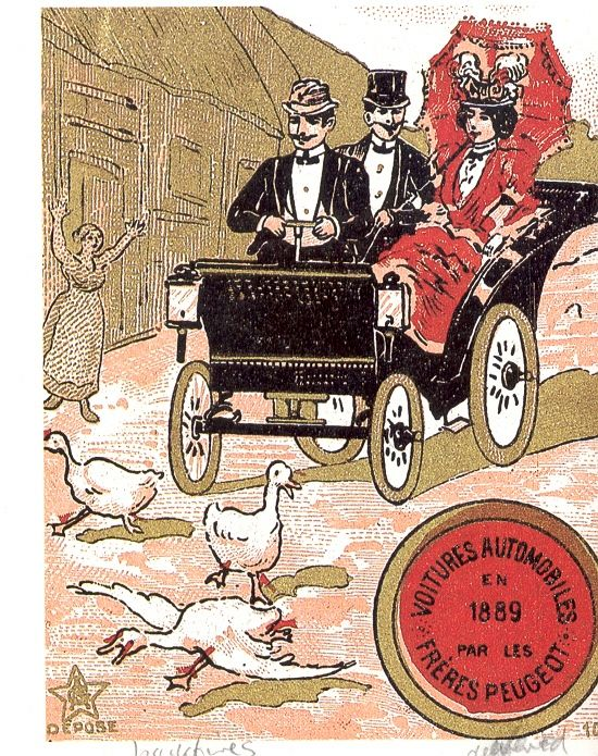 1889 Peugeot Poster from 'Vintage Advertising - Old Automobiles'  http://mosaicbooks.org