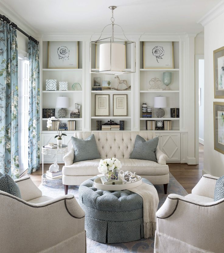 Fort Worth Georgian | Southern Home Magazine | Living Room | Blue & White | Chic | Serene | Classic | Tranisitional | Tufted Furniture | Built-in Cabinets