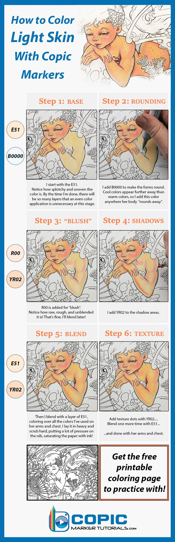 How to color light skin tones with Copic markers. Get the printable coloring…