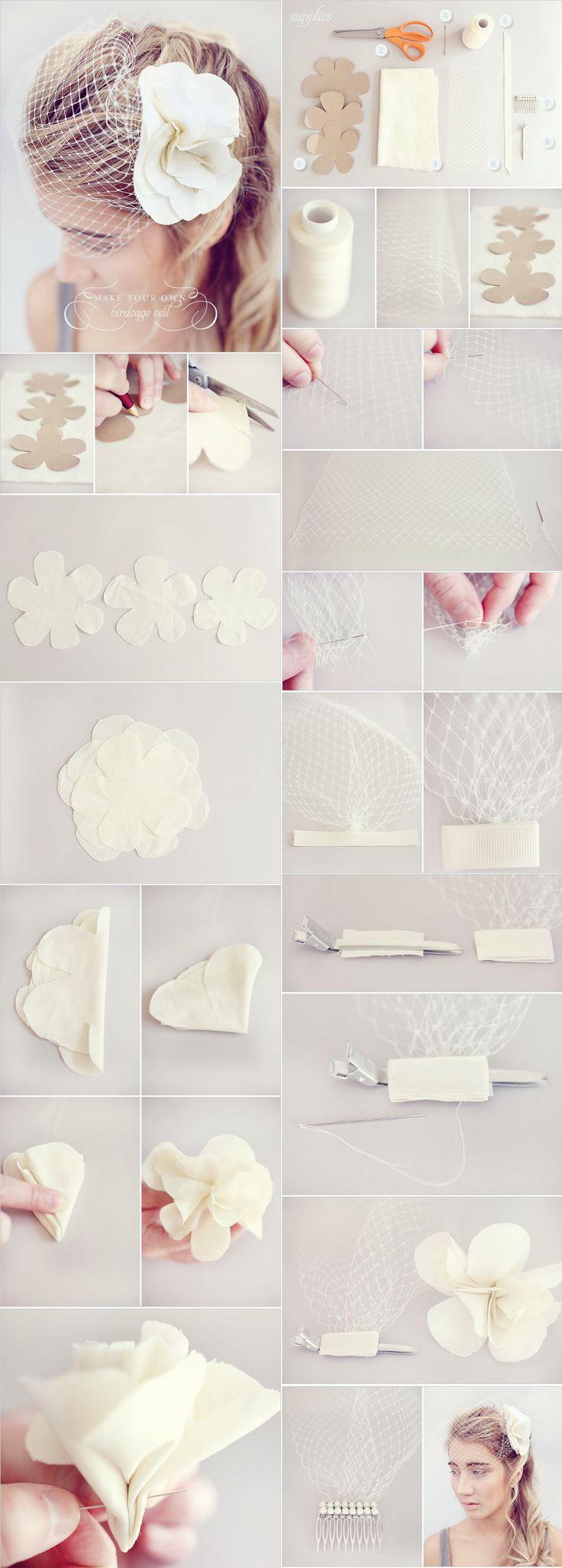 DIY birdcage veil with DIY flower--don't need the flower, but need the steps on making the veil part!