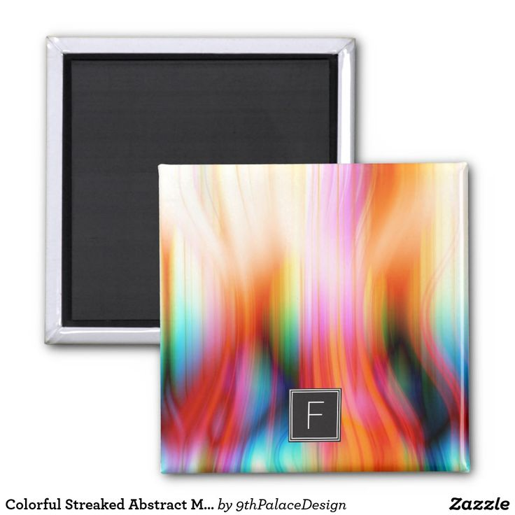 Colorful Streaked Abstract Monogram | Magnet