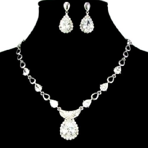 Elegant White Gold Plate Zircon Crescent Bridal Jewelry Sets Wedding SKU-10801187
