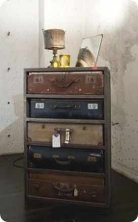 : Dressers Drawers, Vintage Suitcases, Old Suitcases, Old Dressers, Cool Ideas, Vintage Luggage, Guest Rooms, Furniture, Chest Of Drawers