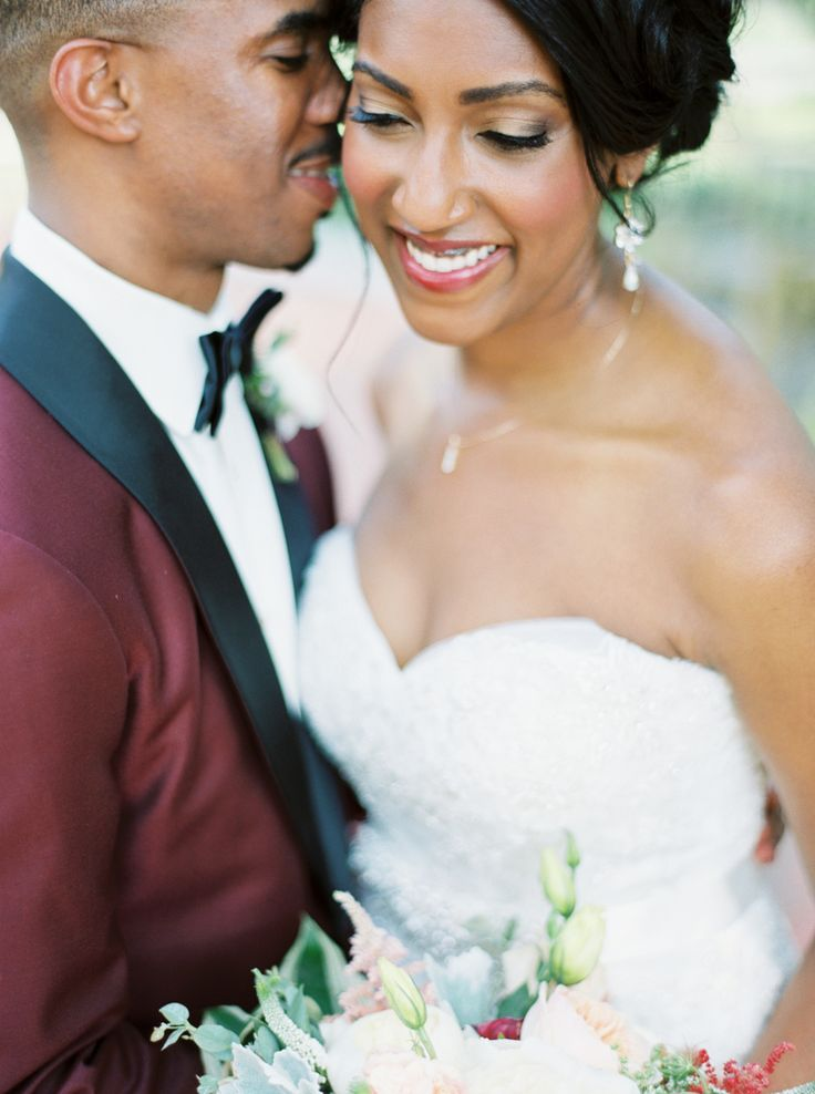 An Urban Wedding With a Pretty Pop of Burgundy!
