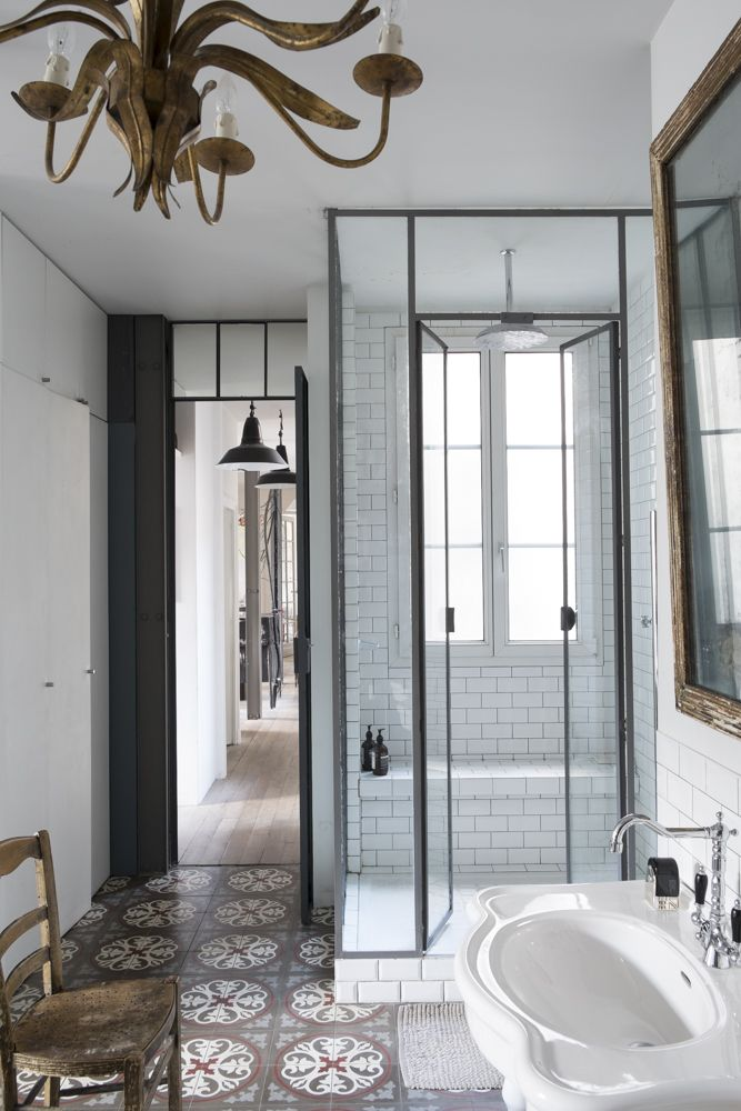 Julien_Nitsa_Lombrail bathroom with walk-in shower, sure to inspire your next bathroom remodel or renovation, via @sarahsarna.