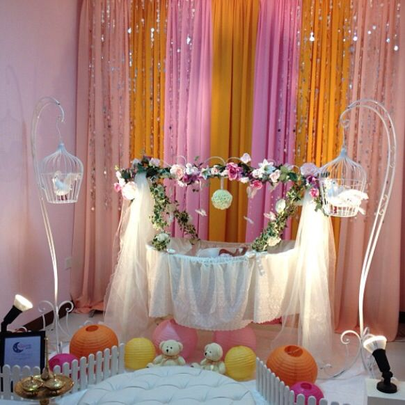 Baby shower cradle decor by my dream cradle singapore for Baby shower decoration singapore