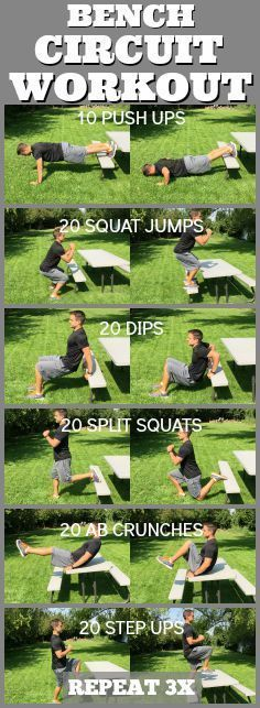 It's a beautiful day to take your workout outside! This bench circuit is quick and super effective! From Tone-and-Tighten.com