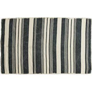 Natural beauty meets urban style in this sophisticated leather, cotton, and jute rug. Weu2019ve woven upcycled leather and jersey cotton with natural jute to create a soft feel under your feet and a casual, but polished aesthetic for your most important rooms. This rugu2019s delightfully irregular, striped pattern features jute in tans and golds, cotton in