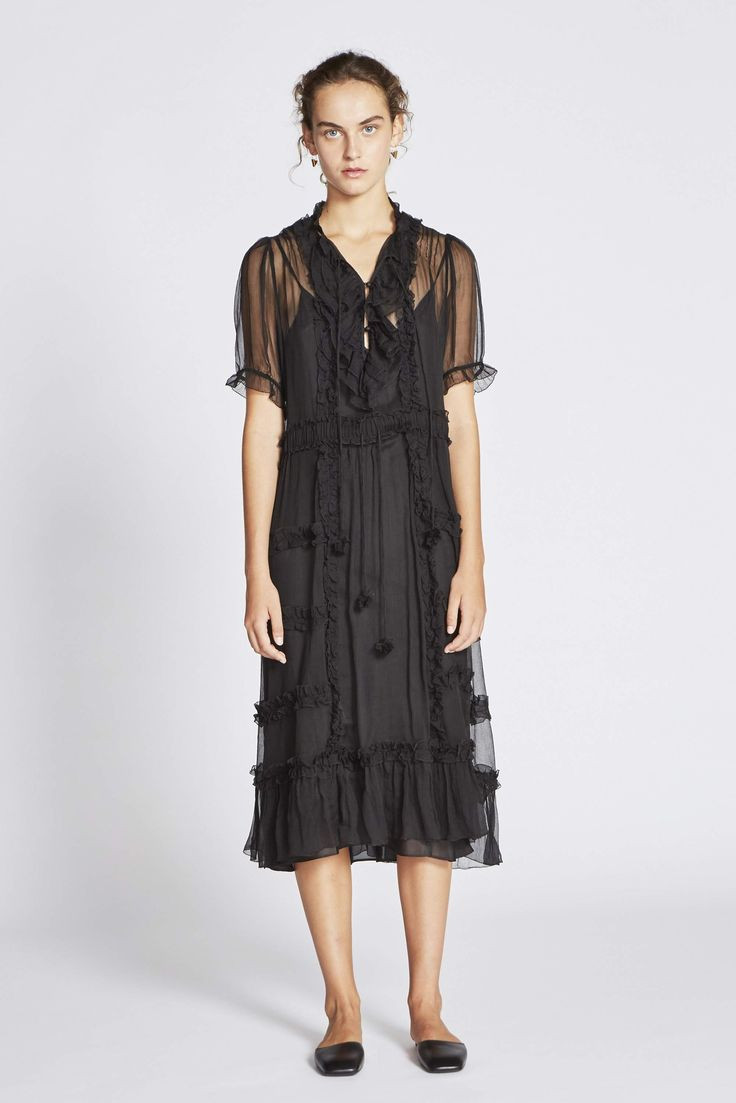 Hayley Crinkle Silk Georgette Short Sleeve Dress - Black