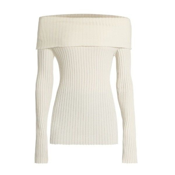 The Row Tulah silk-blend sweater ($1,167) ❤ liked on Polyvore featuring tops, sweaters, ivory, the row sweater, white long sleeve sweater, ivory top, long sleeve tops and off shoulder long sleeve top