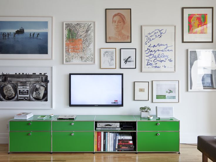 USM Haller media sideboard in USM green.