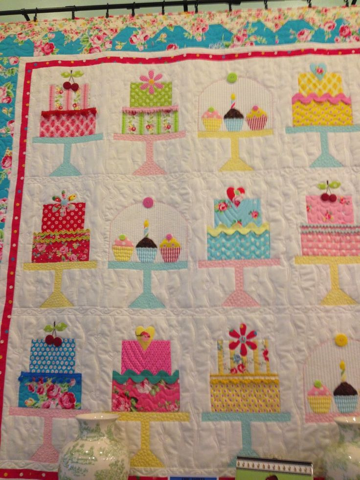 "Adorable birthday cake quilt… from the book, ""Quilty Fun"""