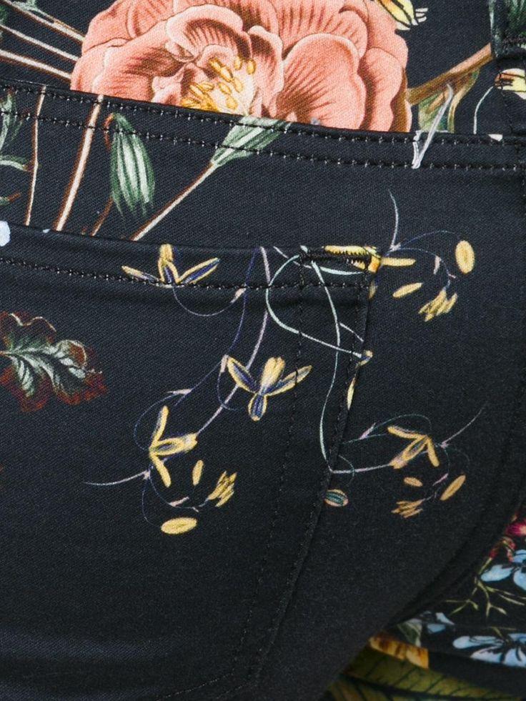 7 For All Mankind укороченные джинсы с цветочным принтом