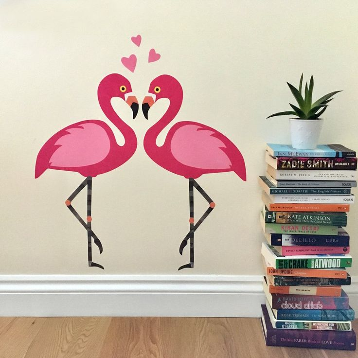 pink flamingo decals with hearts